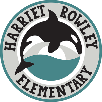 Harriet Rowley Elementary Logo displaying artistic image of an Orca